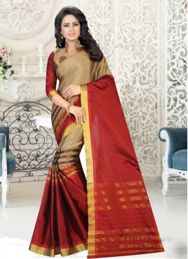 Beige and Maroon Thread Work Contemporary Style Saree