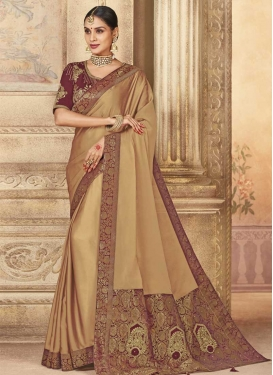 Beige and Maroon Trendy Classic Saree For Festival