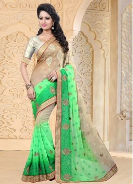 Beige and Mint Green Booti Work Trendy Saree