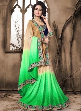 Beige and Mint Green Embroidered Work Trendy Classic Saree