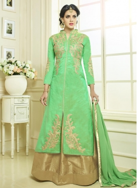 Beige and Mint Green Kameez Style Lehenga