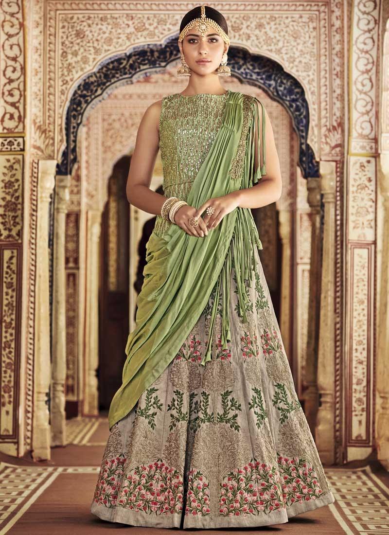 Beige and Mint Green Long Choli Lehenga For Bridal
