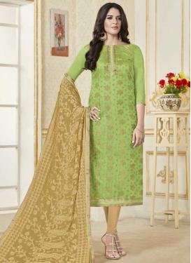 Beige and Mint Green Trendy Straight Salwar Kameez