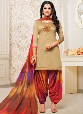 Beige and Multi Colour Designer Semi Patiala Suit