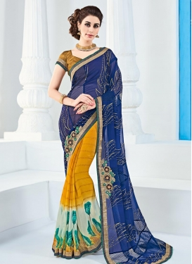 Beige and Mustard Faux Georgette Half N Half Trendy Saree For Ceremonial