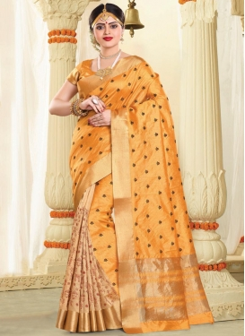 Beige and Mustard Resham Work  Designer Half N Half Saree
