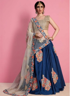Beige and Navy Blue Aari Work Designer A Line Lehenga Choli