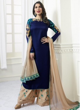 Beige and Navy Blue Aari Work Palazzo Style Pakistani Salwar Kameez