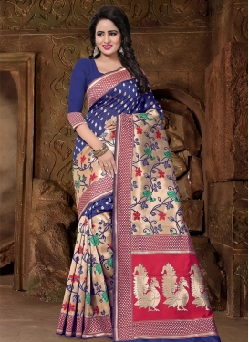 Beige and Navy Blue Banarasi Silk Contemporary Saree