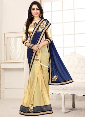 Beige and Navy Blue Beads Work Designer Half N Half Saree
