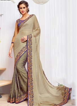 Beige and Navy Blue Chiffon Satin Trendy Classic Saree