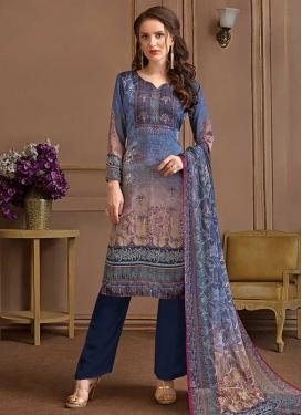 Beige and Navy Blue Crepe Silk Pant Style Salwar Kameez