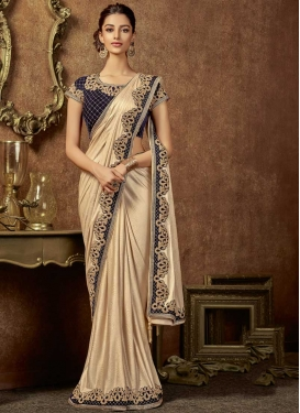 Beige and Navy Blue Designer Contemporary Saree