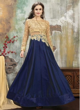 Beige and Navy Blue Designer Lehenga Choli For Ceremonial