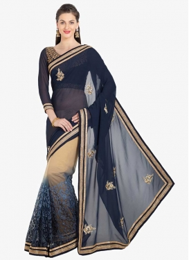Beige and Navy Blue Embroidered Work Half N Half Designer Saree