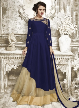 Beige and Navy Blue Embroidered Work Kameez Style Lehenga
