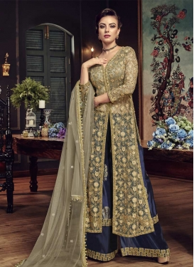 Beige and Navy Blue Embroidered Work Net Palazzo Designer Salwar Kameez