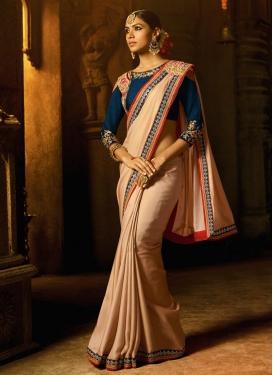 Beige and Navy Blue Embroidered Work Satin Silk Trendy Designer Saree