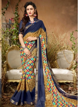 Beige and Navy Blue Faux Georgette Contemporary Saree