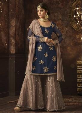 Beige and Navy Blue Net Sharara Salwar Suit