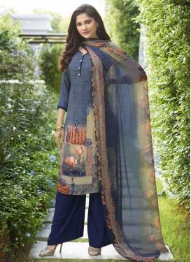 Beige and Navy Blue Palazzo Designer Salwar Suit