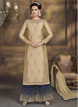 Beige and Navy Blue Palazzo Style Pakistani Salwar Suit For Festival