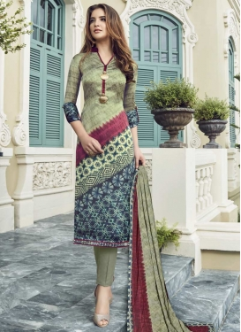 Beige and Navy Blue Pant Style Straight Salwar Suit For Ceremonial