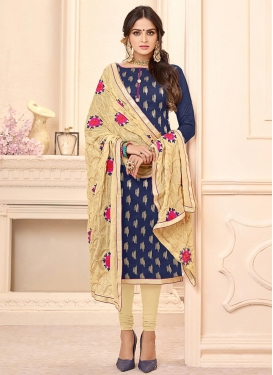 Beige and Navy Blue Trendy Churidar Salwar Suit