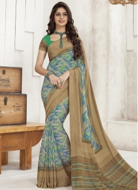 Beige and Off White Contemporary Style Saree For Casual