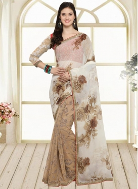 Beige and Off White  Half N Half Saree