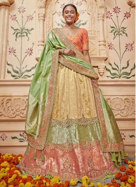 Beige and Olive Booti Work A Line Lehenga Choli