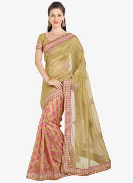 Beige and Olive Half N Half Designer Saree For Festival