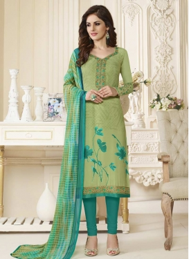 Beige and Olive Trendy Churidar Salwar Kameez For Ceremonial