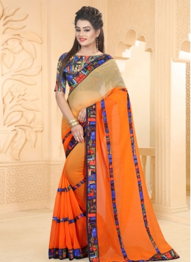 Beige and Orange Abstract Print Work Designer Contemporary Style Saree