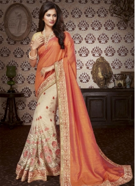 Beige and Orange Art Silk Half N Half Trendy Saree