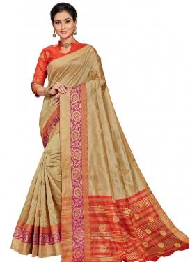 Beige and Orange Art Silk Trendy Saree