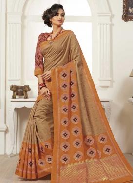 Beige and Orange Bhagalpuri Silk Designer Traditional Saree