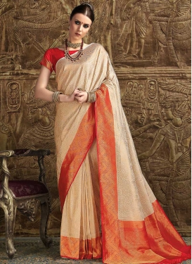 Beige and Orange Designer Contemporary Style Saree
