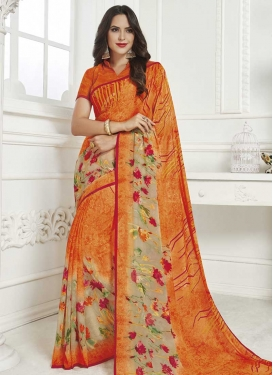 Beige and Orange Designer Contemporary Style Saree For Casual