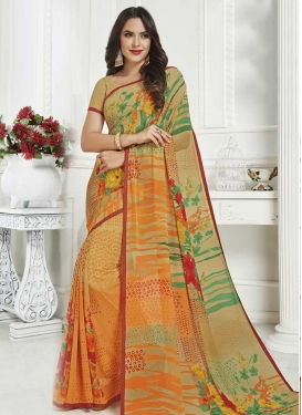 Beige and Orange Faux Georgette Designer Contemporary Style Saree