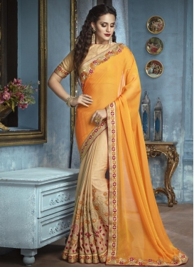 Beige and Orange Half N Half Saree