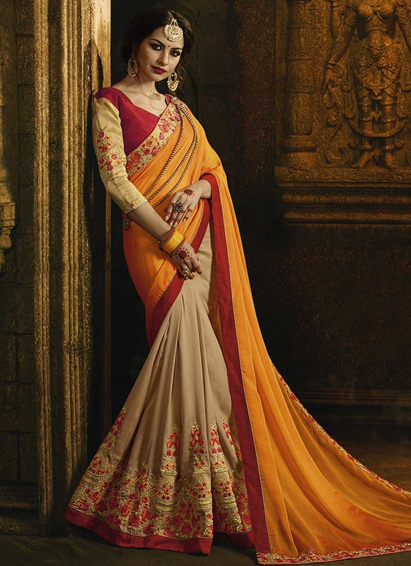 Beige and Orange Half N Half Trendy Saree For Ceremonial