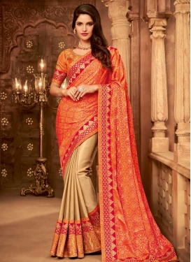 Beige and Orange Jacquard Half N Half Designer Saree