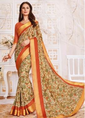 Beige and Orange Lace Work Contemporary Saree