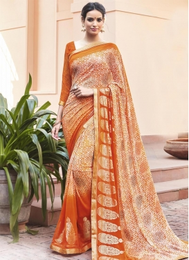 Beige and Orange Print Work Contemporary Style Saree