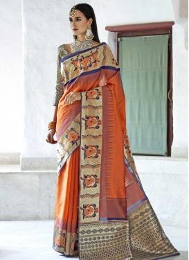 Beige and Orange Thread Work Trendy Saree