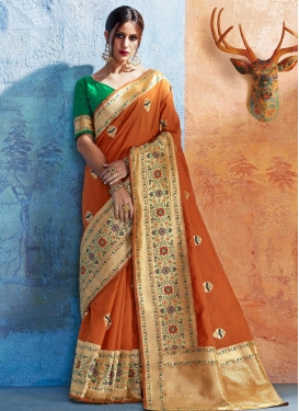 Beige and Orange Traditional Saree For Ceremonial