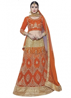 Beige and Orange Trendy A Line Lehenga Choli