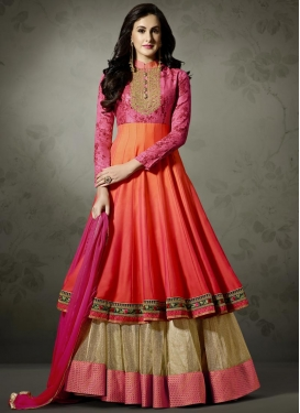 Beige and Orange Trendy Designer Salwar Kameez For Festival