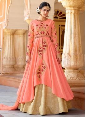 Beige and Peach Designer Kameez Style Lehenga